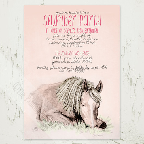Girl's 13th birthday slumber party invitations with a horse or pony theme