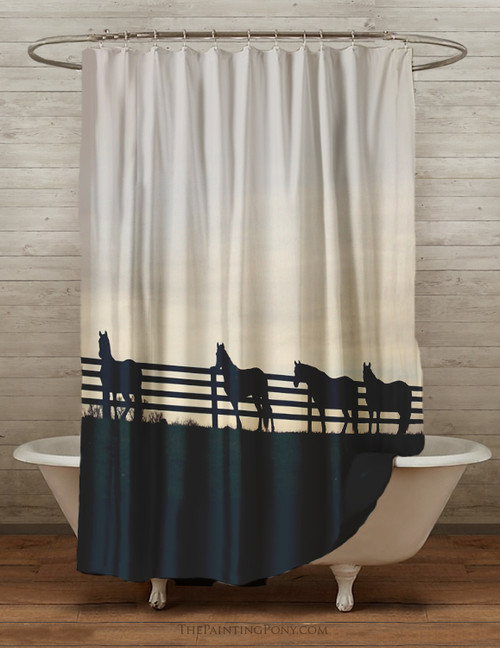 Horses at the Fence Equestrian Themed Shower Curtain