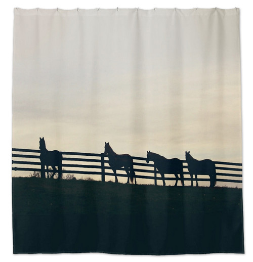 Horses At The Fence Country Equestrian Shower Curtain For Horse Lovers Bathroom Decor