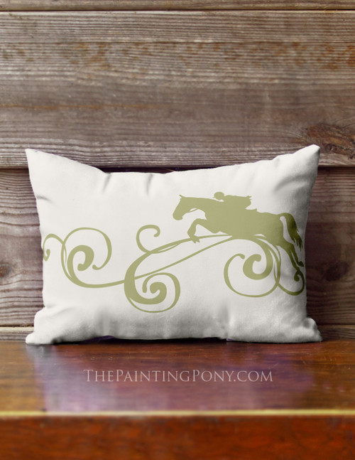 Jumping Horse Flourish Accent Pillow