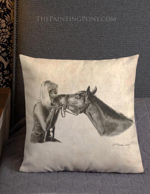 Horse Kisses Equestrian Throw Pillow