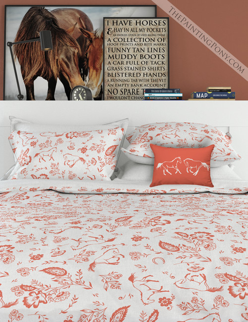 Country Floral Horses Patterned Bedding Set (More Colors Available)