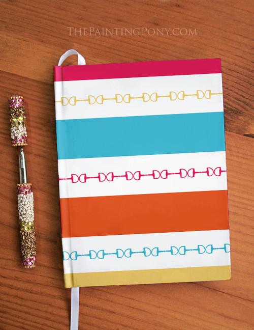 Striped Equestrian Designer Hardbound Journal