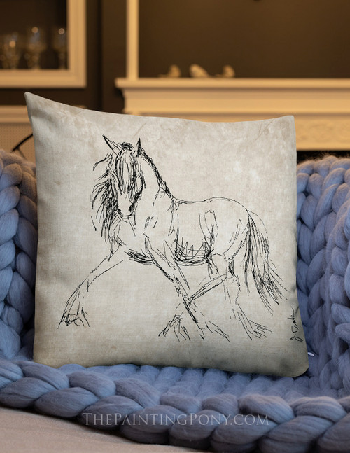 Trotting Horse Equestrian Throw Pillow