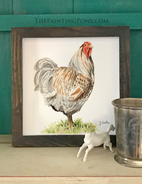 Farmhouse Style Rooster Watercolor Fine Art Print