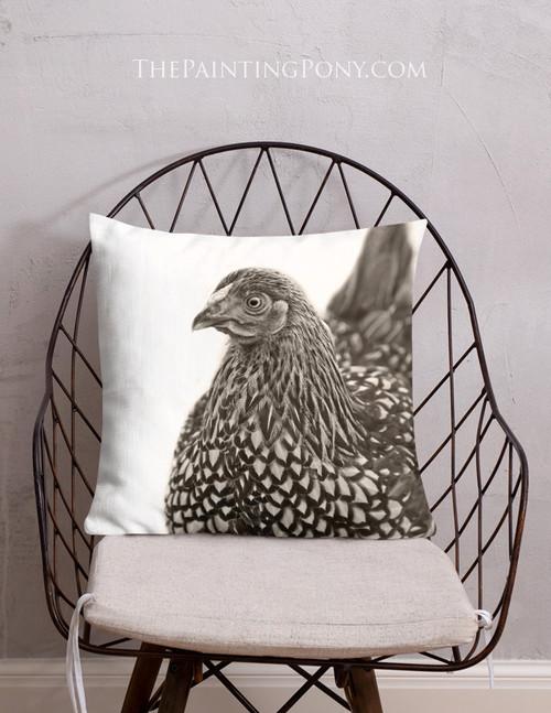 Golden Laced Chicken Art Throw Pillow