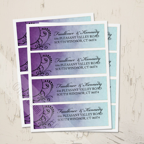 Purple and Teal Artsy Bohemian Wedding return address labels.