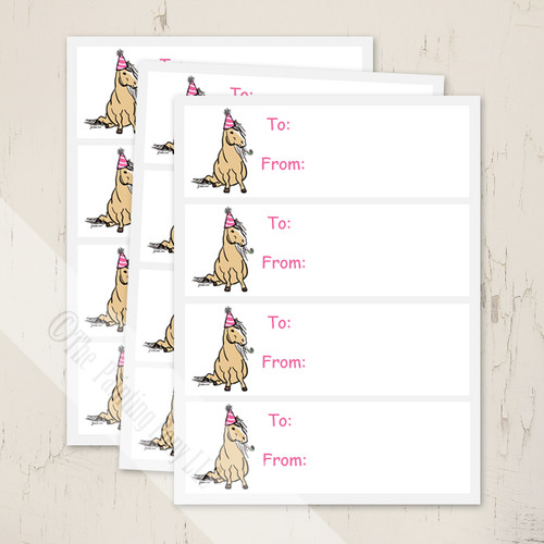 Pink Party Pony Birthday Gift Tags