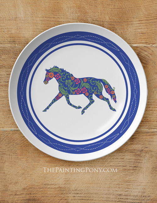 """Trotting Floral Horse 10"""" Equestrian Plate"""