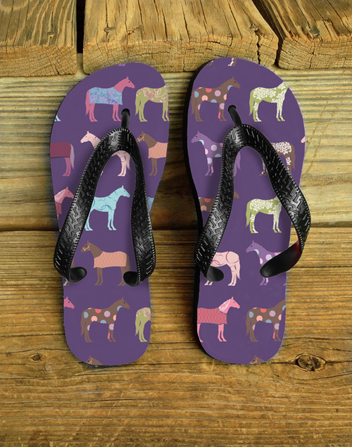 Fun Horse Pattern Flip Flops