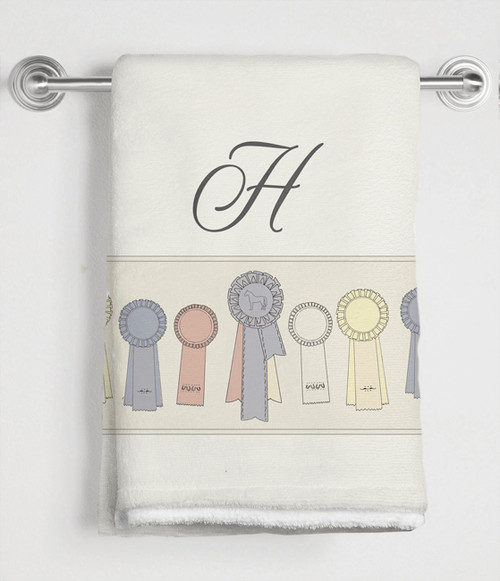 Horse Show Ribbons Monogram Bath Towel