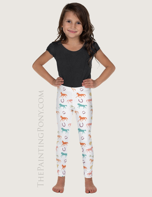 English Horses Pattern Equestrian Kids Leggings