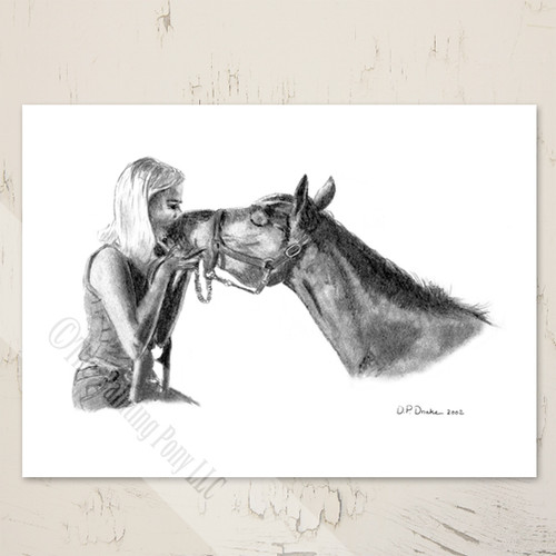Blank Equestrian Art Note Card