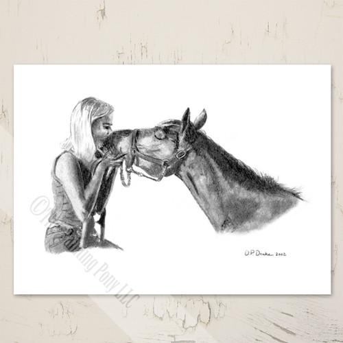 Blank Equestrian Art Note Card