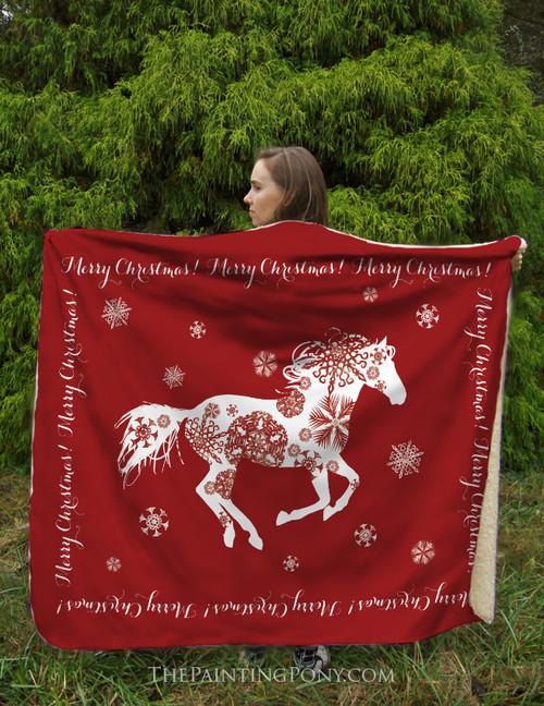 Snowflake Horse Sherpa Fleece Throw Blanket