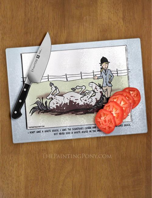 Funny Horse Comic Glass Cutting Board