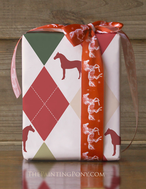 Vintage Harlequin Horse Christmas Gift Wrapping Paper