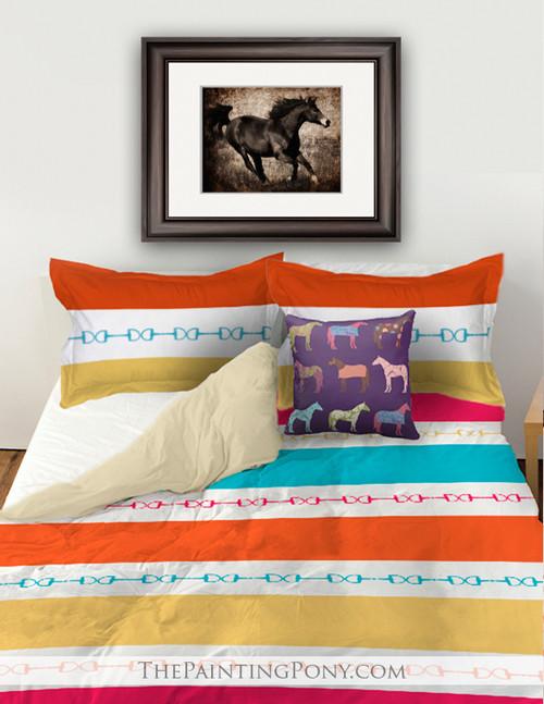 Horse Bits Striped Bedding Set