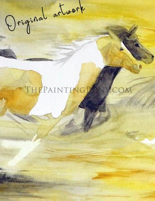 """Racing Sunrise"" Watercolor Horse Painting"