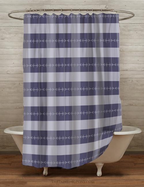 Blue Plaid Horse Bits Equestrian Themed Shower Curtain