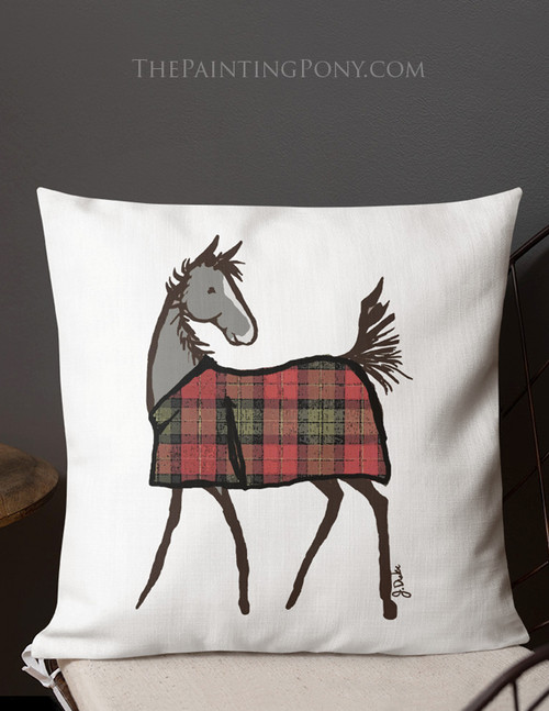 Plaid Horse Foal Christmas Throw Pillow