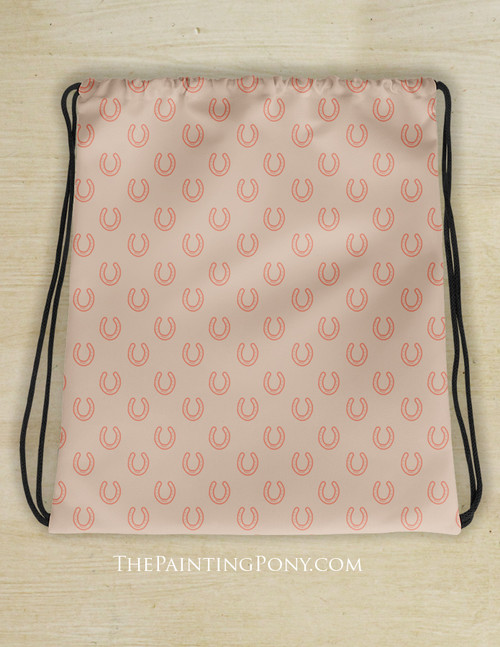 Horse Shoes Pattern Equestrian Drawstring Barn Tote Bag