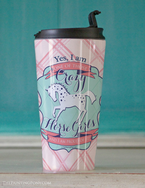 Horse Crazy Girl Equestrian Travel Tumbler