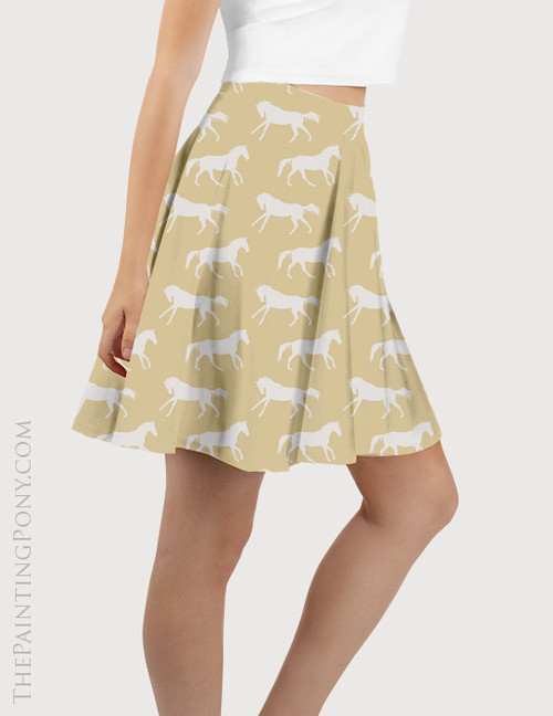 Yellow Galloping Horse Pattern Equestrian Flare Skirt