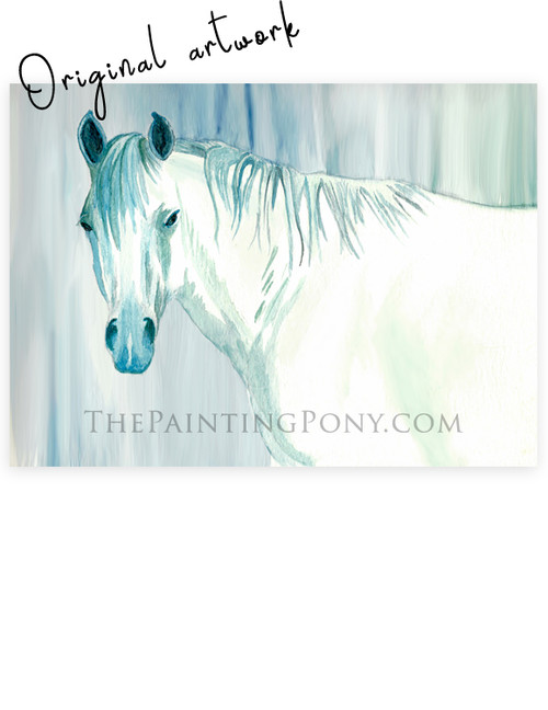 """Blue Mare"" Watercolor Horse Painting"