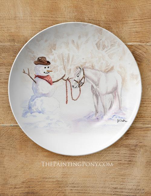 """Cowboy Snowman Equestrian 10"""" Plate"""