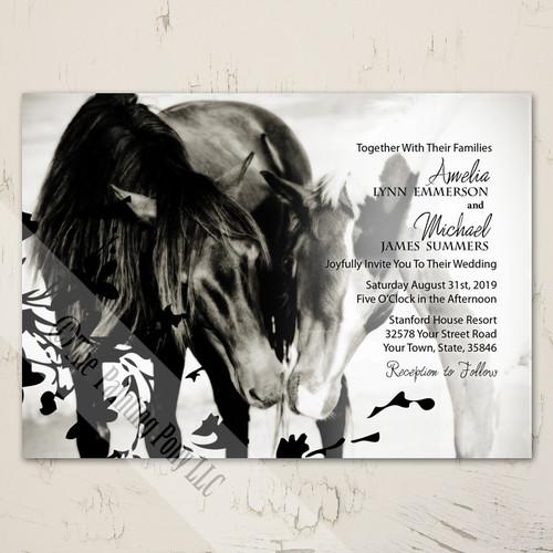Pony Love Equestrian Horse Themed Wedding Invite Stationery