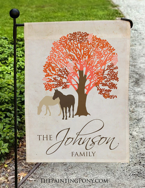 Autumn Horses Personalized Garden Flag