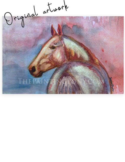 """""""Twilight Akhal-Teke"""" Horse Head Watercolor"""