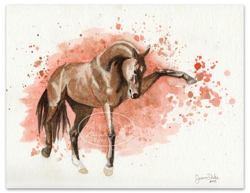 """9""""x12"""" Watercolor on watercolor paper of a bay akhal-teke stallion."""