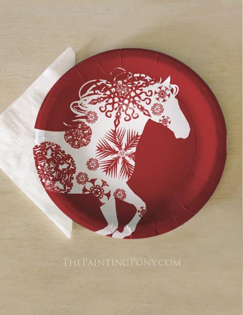 Christmas Snowflake Horse Paper Party Plates (8 pk)