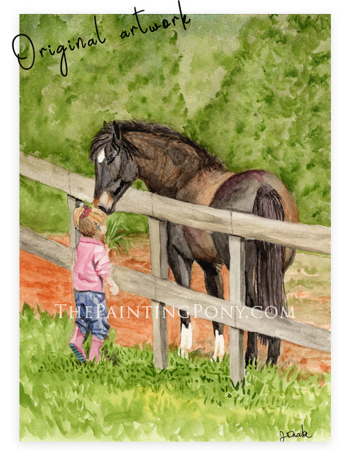 "Original Equestrian Watercolor Painting ""At First Sight"""