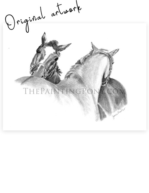 "9""x6"" Graphite drawing of two horses giving each other scratches"