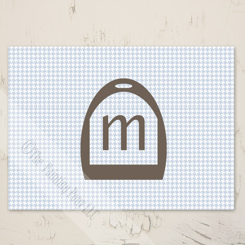 Blank Equestrian Houndstooth Note Card