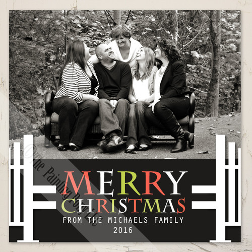 Family photo equestrian horse jump christmas card