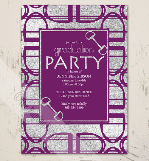 Purple Horse Stirrups equestrian graduation party invites.