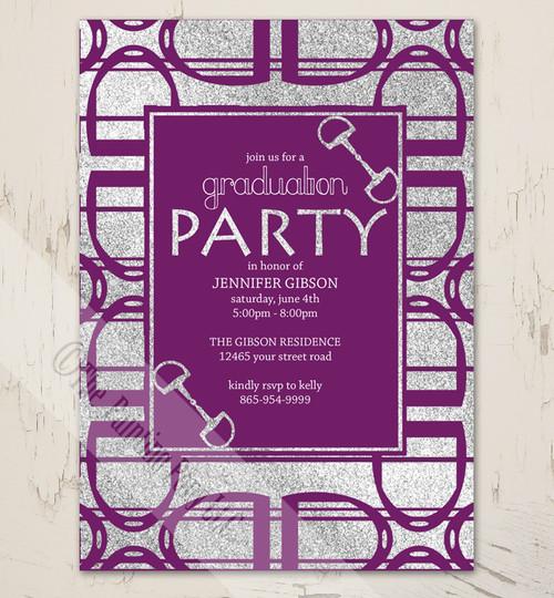 Purple Horse Stirrups equestrian graduation party invites.