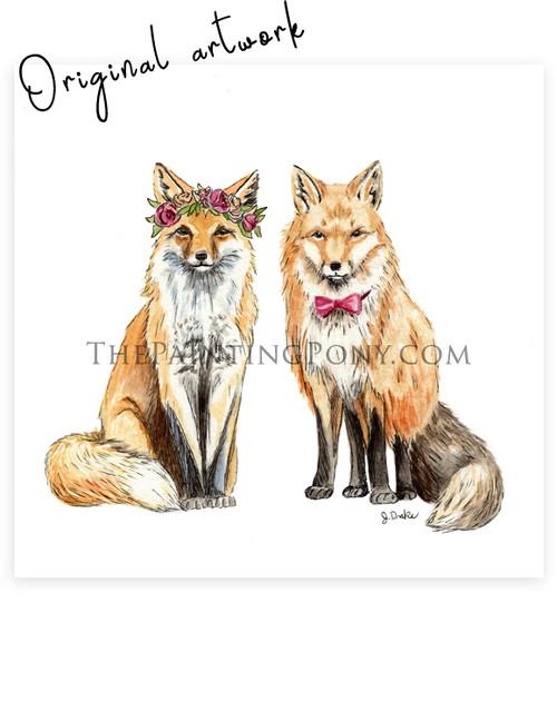 Original Bohemian Foxes Watercolor Painting