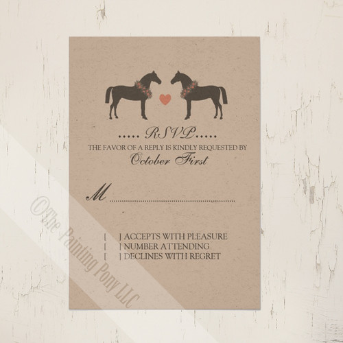 Whimsical Horses Rustic Wedding RSVP card