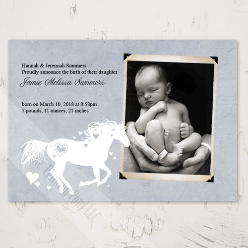 Whimsical Heart Horse Newborn Birth Announcement (10 pk)