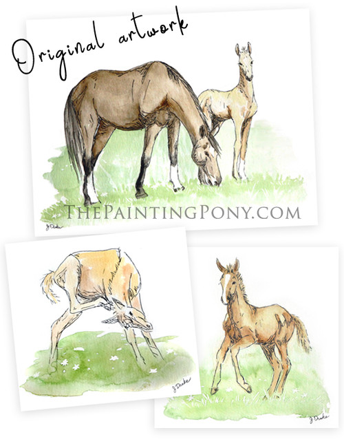 Spring Foals Collection - 3 original horse paintings set