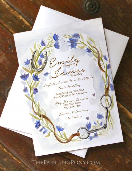 Watercolor Floral Equestrian Horse Bit Wedding Invitation