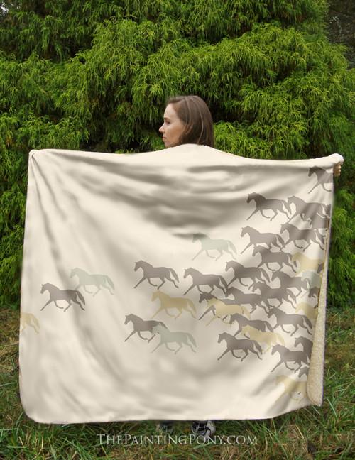 Horse Herd Equestrian Sherpa Fleece Throw Blanket