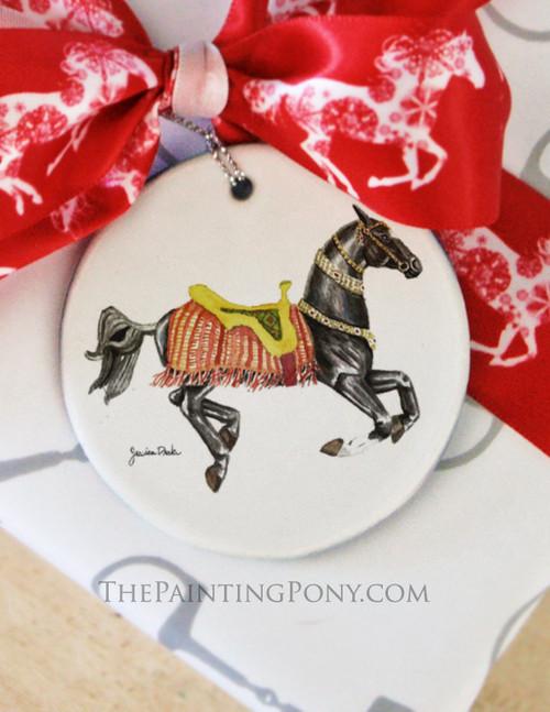 Akhal-Teke Carousel Horse Christmas Ornament