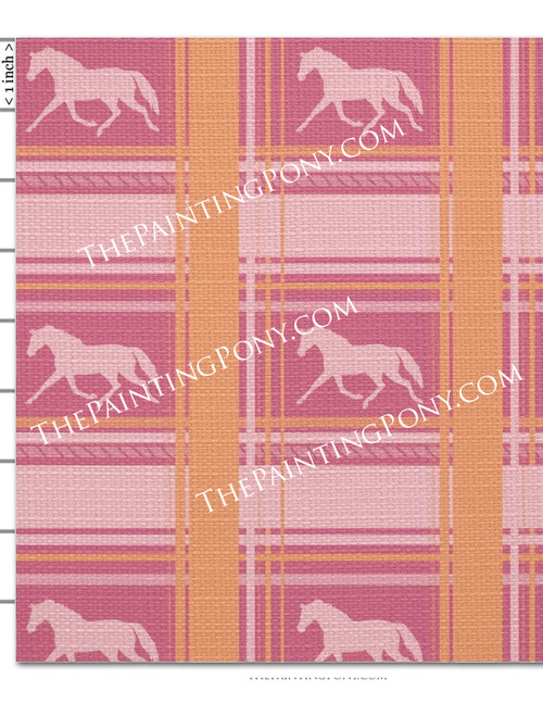 Pink Plaid Horse Fabric by the Yard