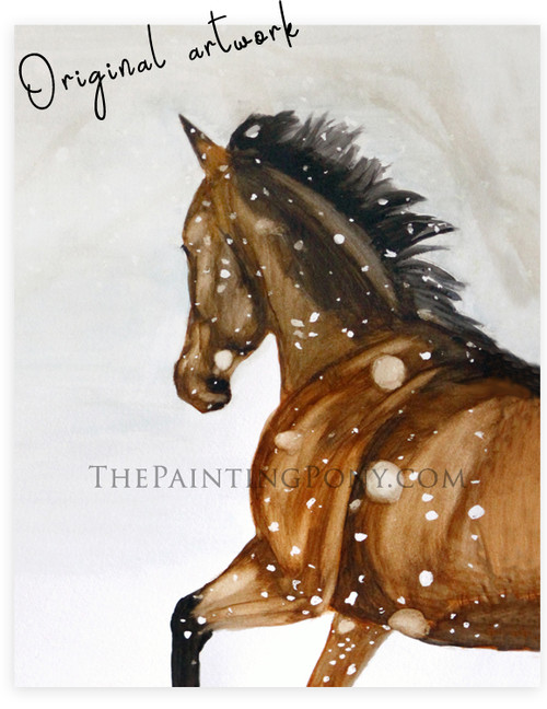 """""""Gallop in the Snow"""" Horse Painting"""